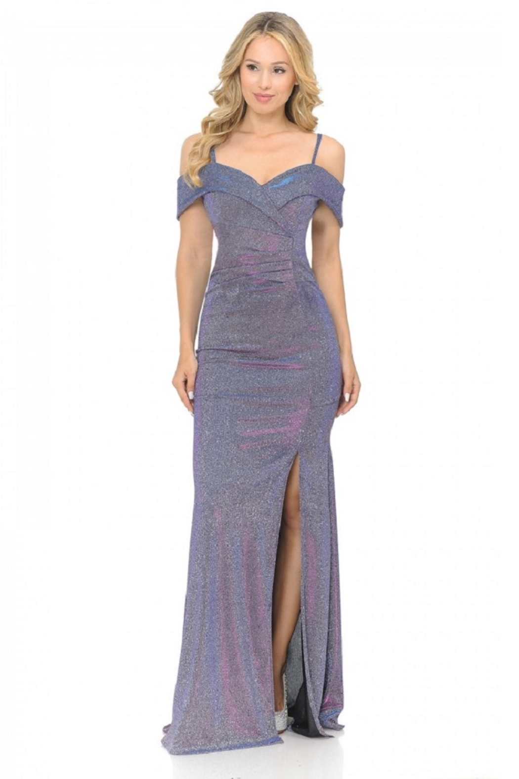 Lenovia  Off The Shoulder Purple Metallic Fit & Flare Long Formal Dress - Main Image
