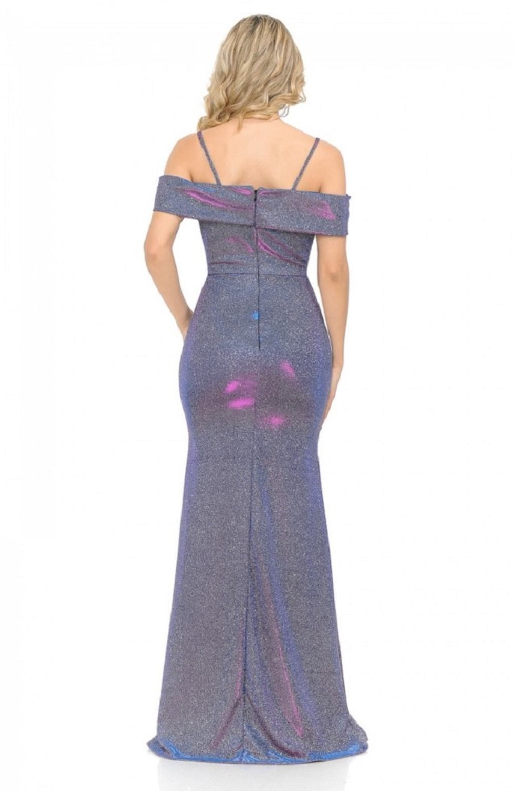 Lenovia  Off The Shoulder Purple Metallic Fit & Flare Long Formal Dress - Front Full Image