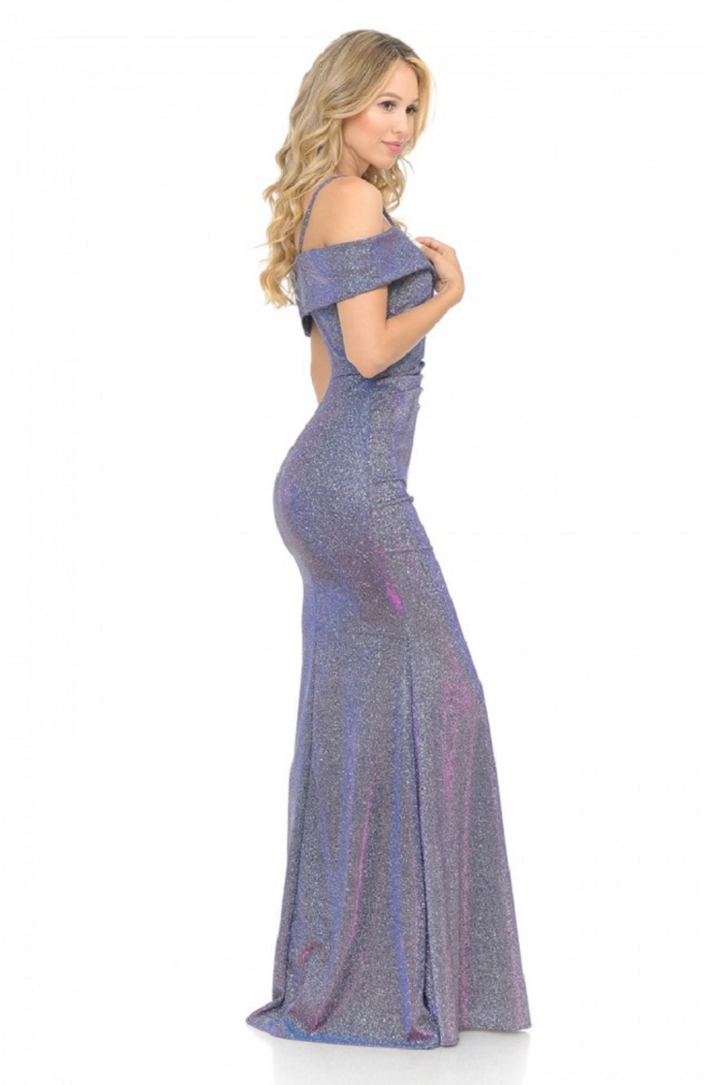 Lenovia  Off The Shoulder Purple Metallic Fit & Flare Long Formal Dress - Back Cropped Image