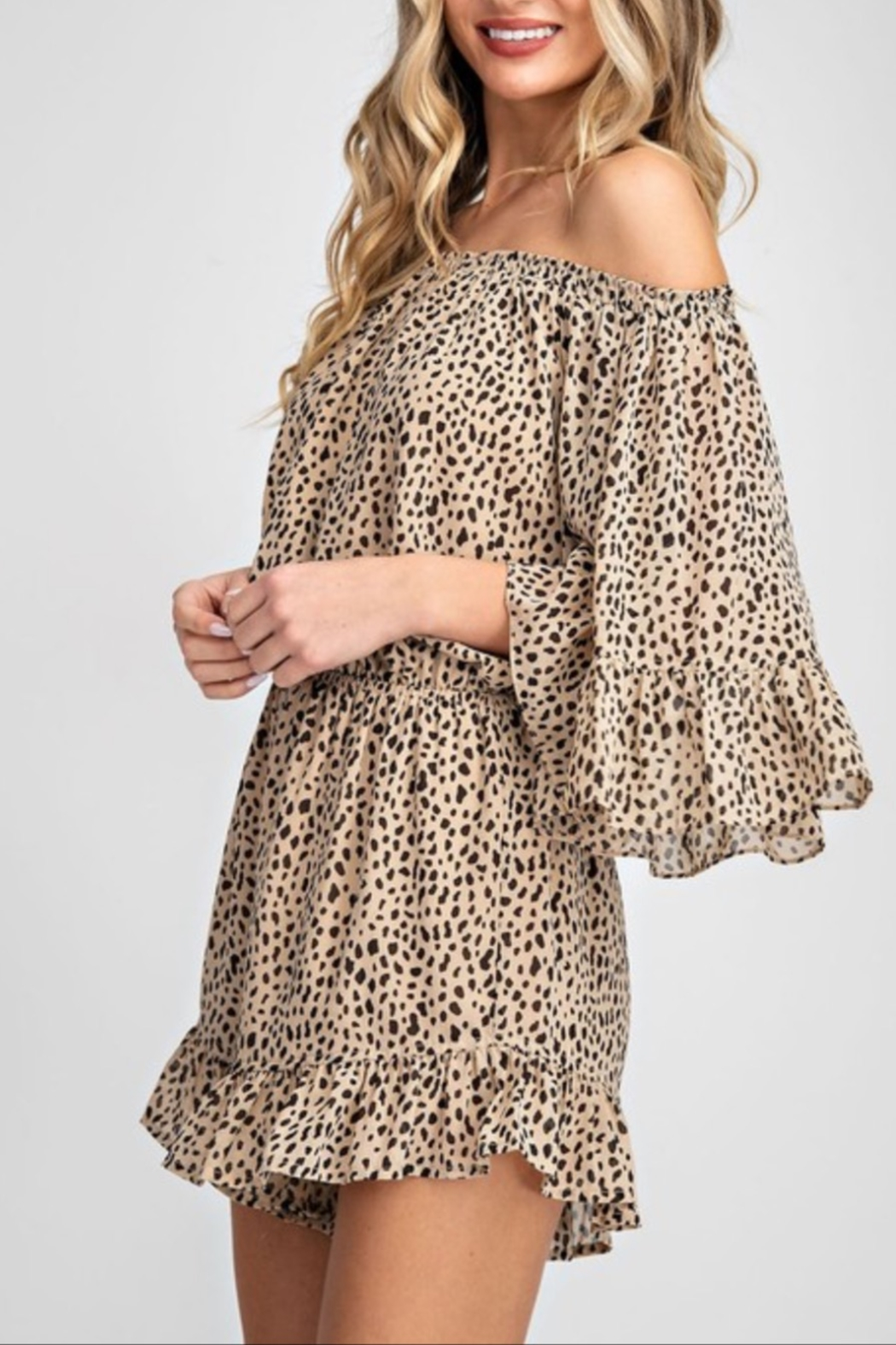 eesome Off The Shoulder Romper - Front Full Image