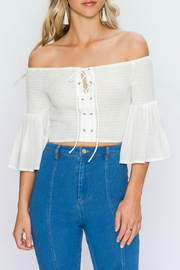 Flying Tomato OFF-THE-SHOULDER RUCHED TOP - Product Mini Image