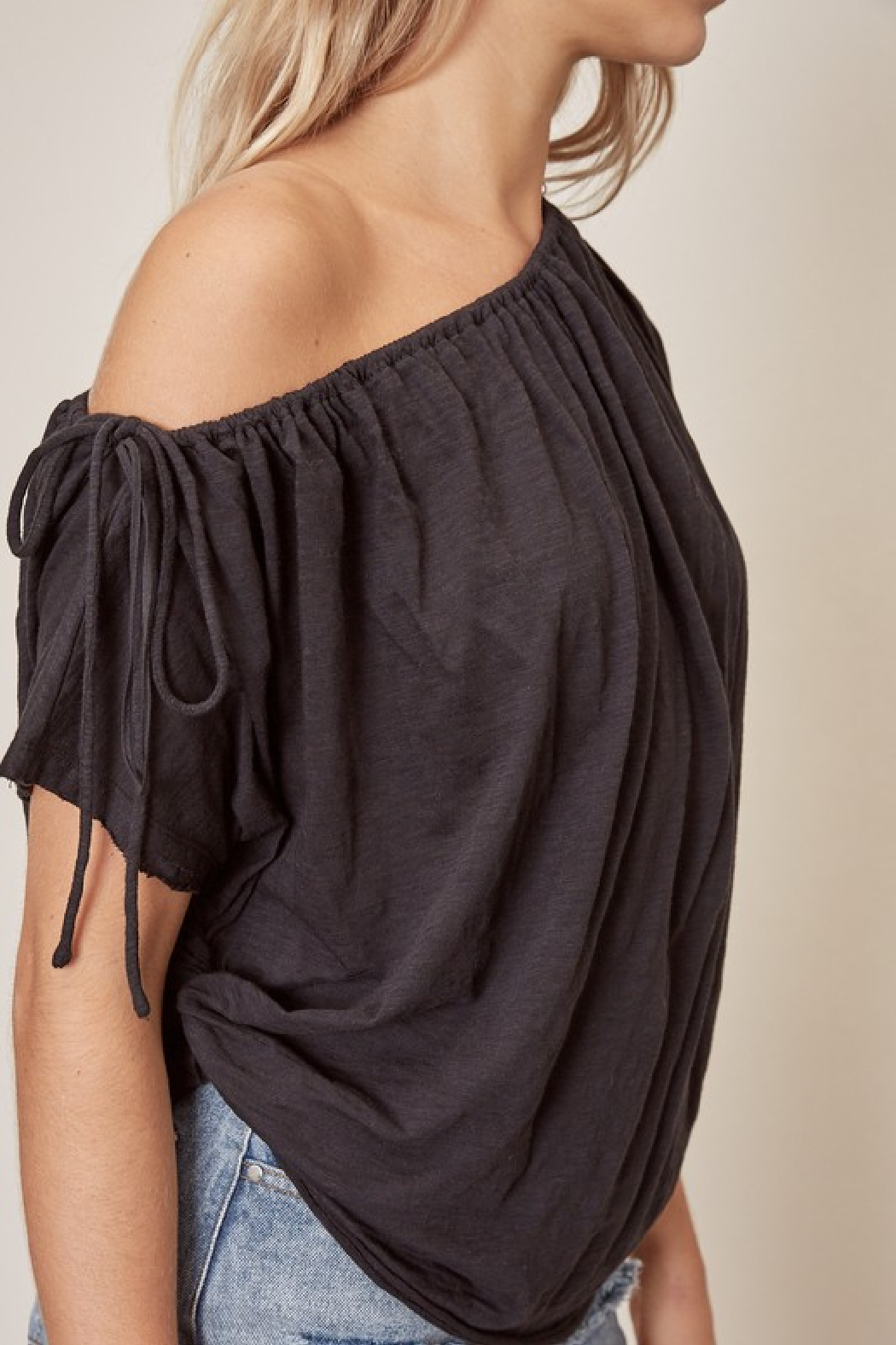 Mustard Seed One Shoulder Cotton Top - Front Full Image