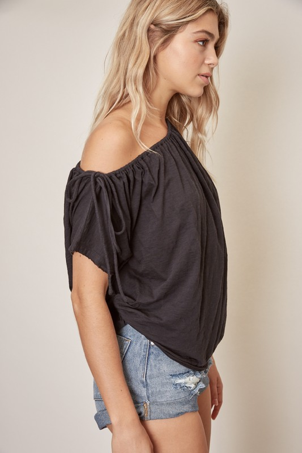 Mustard Seed One Shoulder Cotton Top - Back Cropped Image
