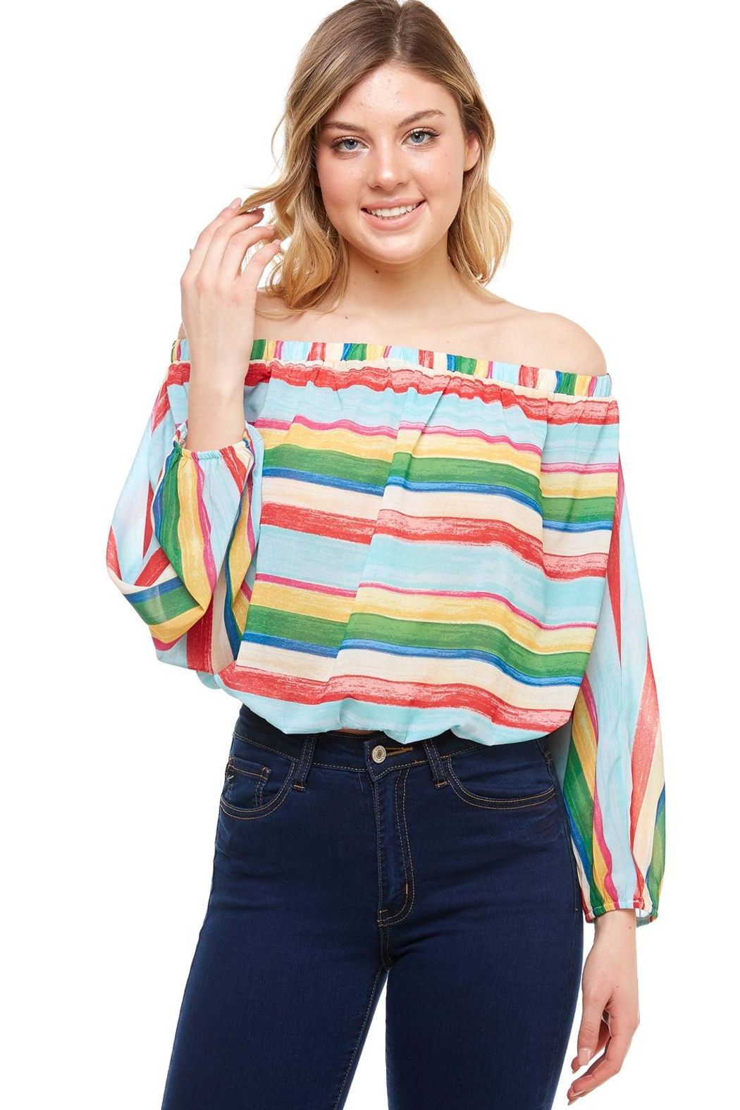 Flying Tomato Off-The-Shoulder Striped Top - Main Image
