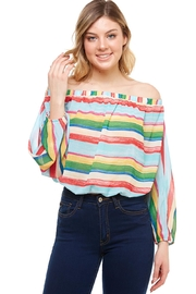 Flying Tomato Off-The-Shoulder Striped Top - Product Mini Image
