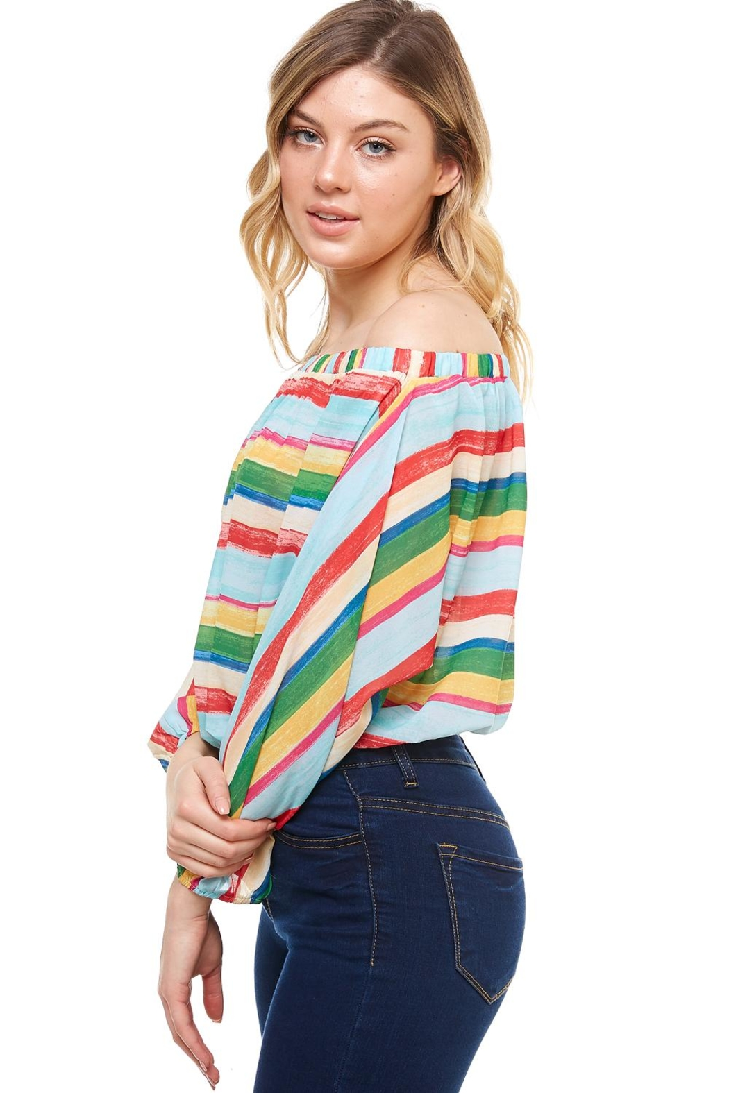 Flying Tomato Off-The-Shoulder Striped Top - Front Full Image