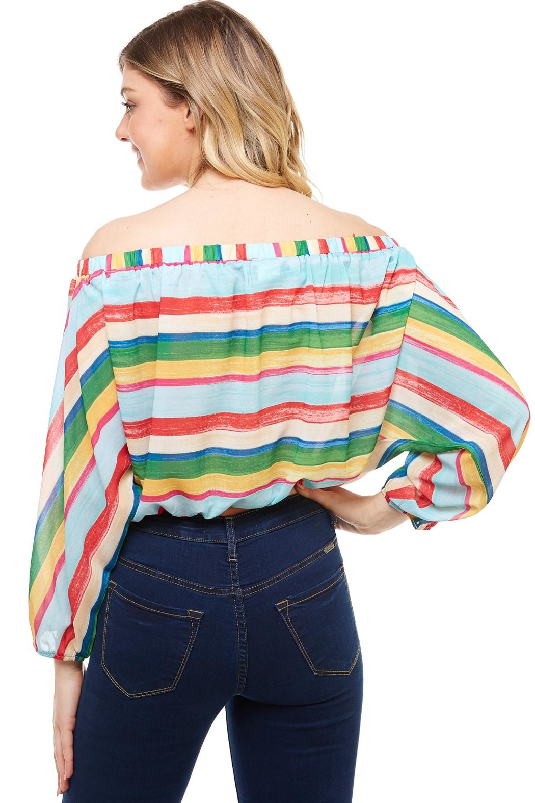 Flying Tomato Off-The-Shoulder Striped Top - Side Cropped Image