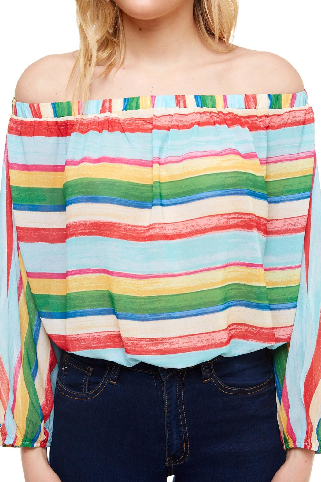 Flying Tomato Off-The-Shoulder Striped Top - Back Cropped Image