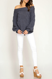 She + Sky Off  the shoulder sweater - Product Mini Image