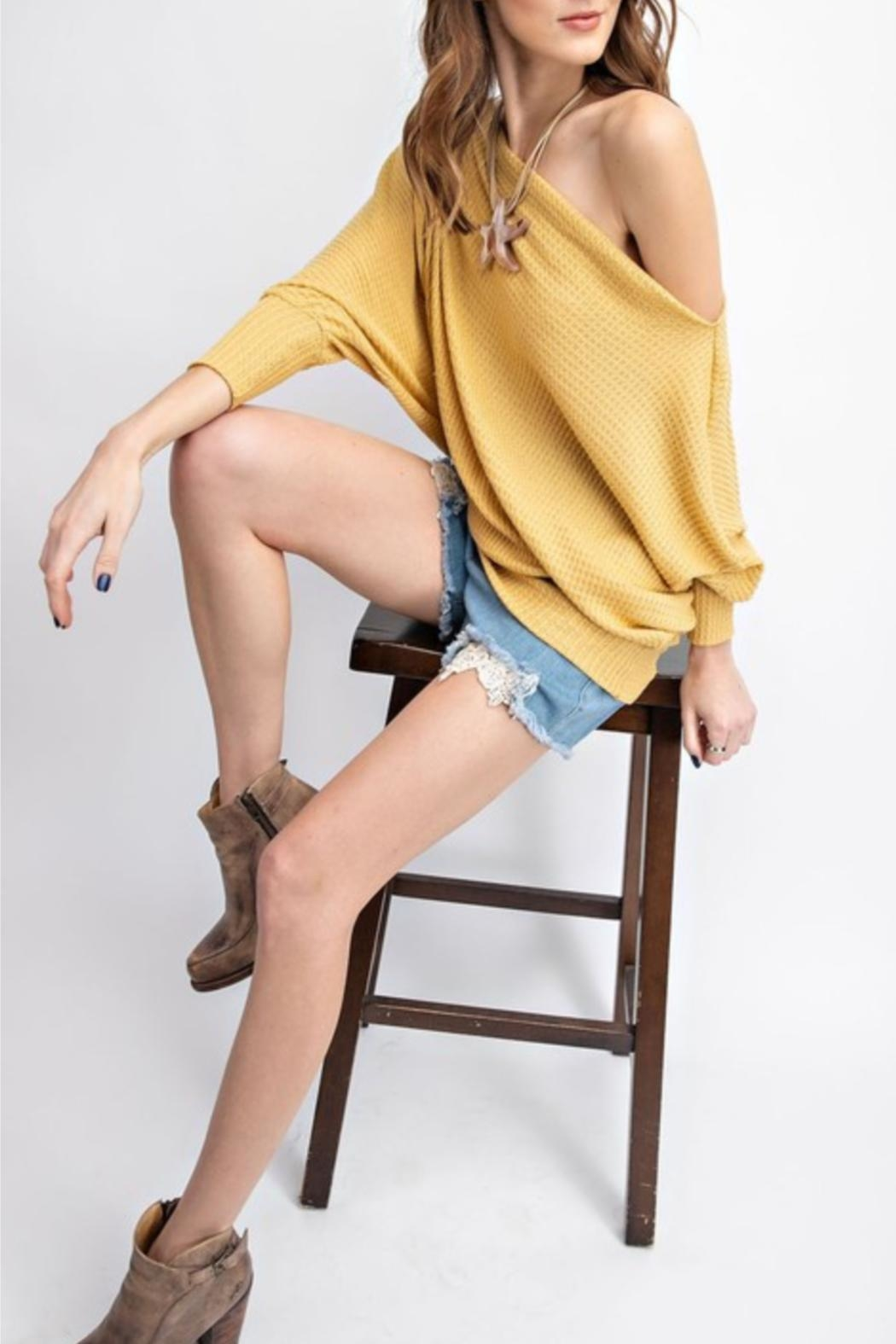 easel Off-The-Shoulder Thermal Tunic - Front Full Image
