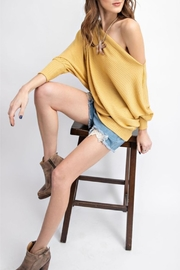 easel Off-The-Shoulder Thermal Tunic - Front full body