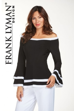 Frank Lyman Off the Shoulder Top, Black/White - Product List Image