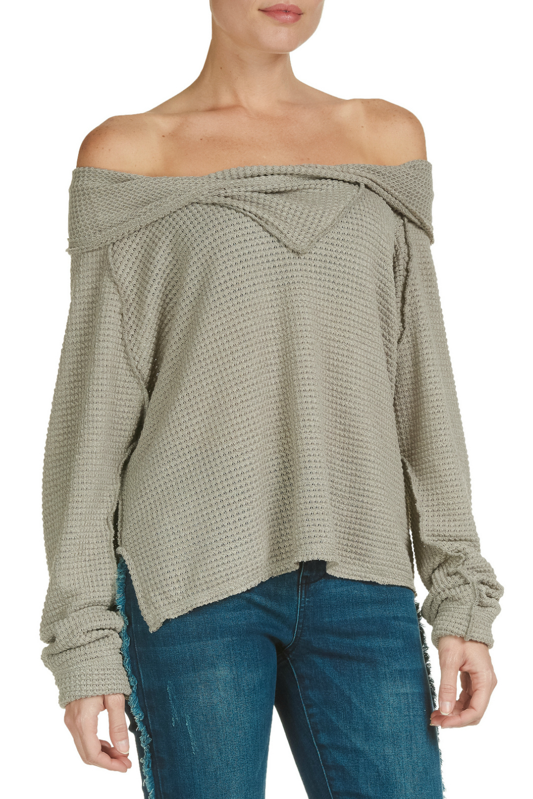 Elan Off the Shoulder Long Sleeve Top - Front Cropped Image