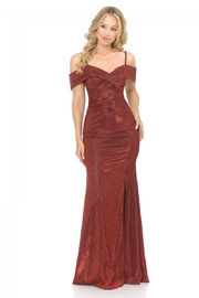 Lenovia  Off The Shoulder Wine Metallic Fit & Flare Long Formal Dress - Product Mini Image