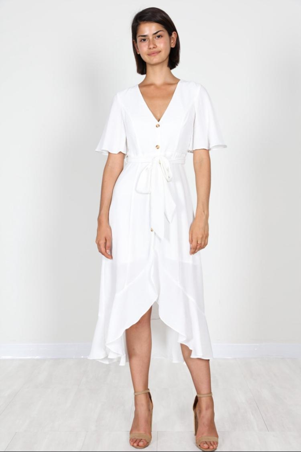 ad2bee819813 essue Off-White Button-Down Dress from Los Angeles by Chikas ...