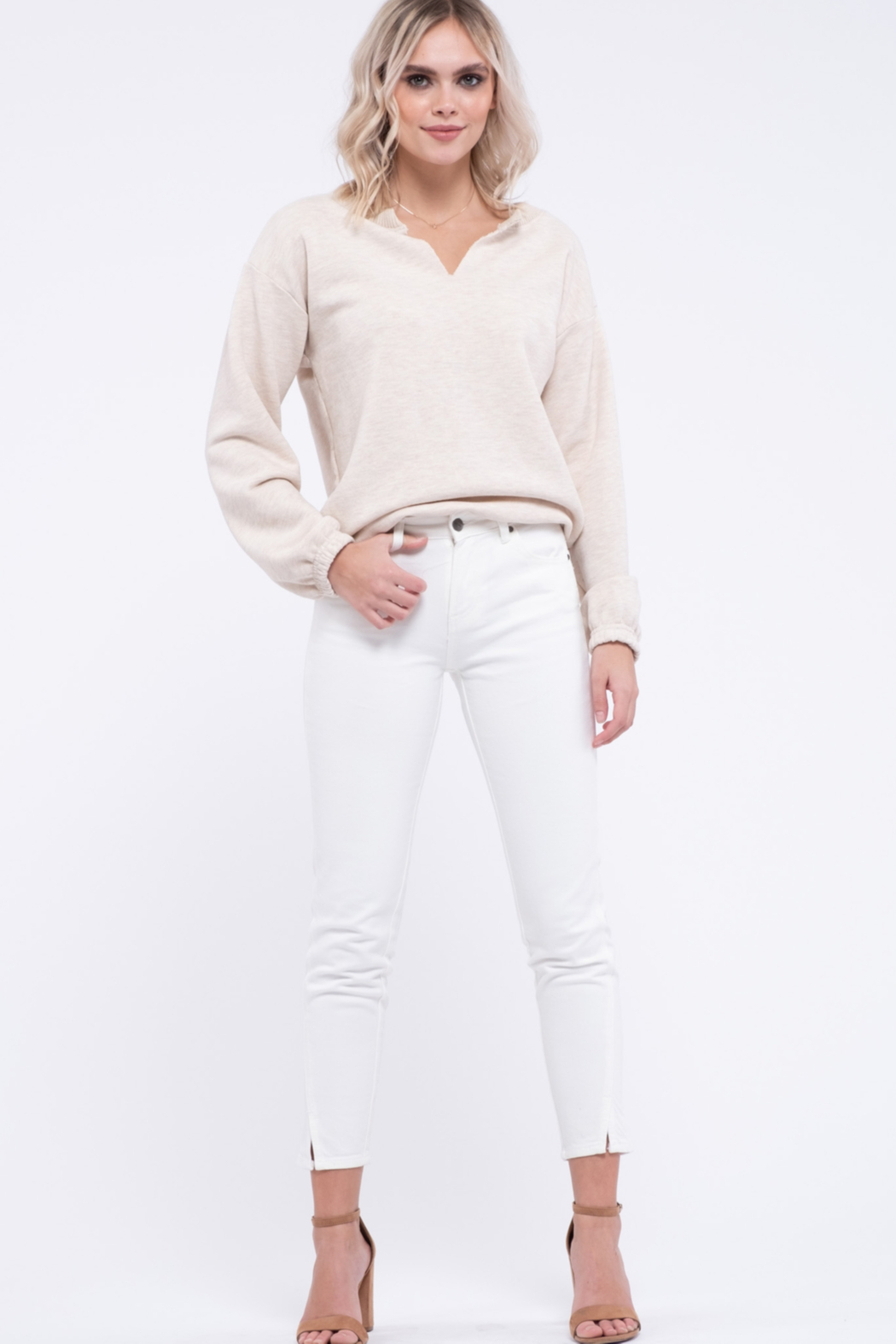EVIDNT Off-White Cotton Low Rise Twisted Side Seam Skinny Jeans - Main Image
