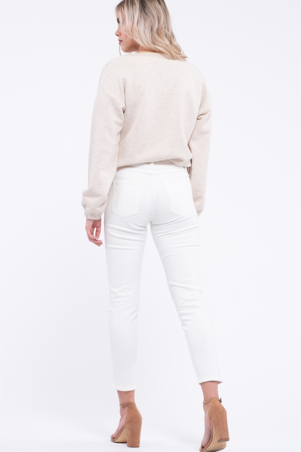 EVIDNT Off-White Cotton Low Rise Twisted Side Seam Skinny Jeans - Back Cropped Image