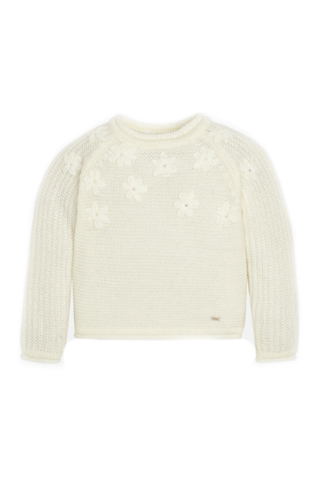 Mayoral Off-White-Embroidered-Daisy-Accent-Knit-Sweater - Main Image