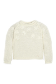 Mayoral Off-White-Embroidered-Daisy-Accent-Knit-Sweater - Front cropped