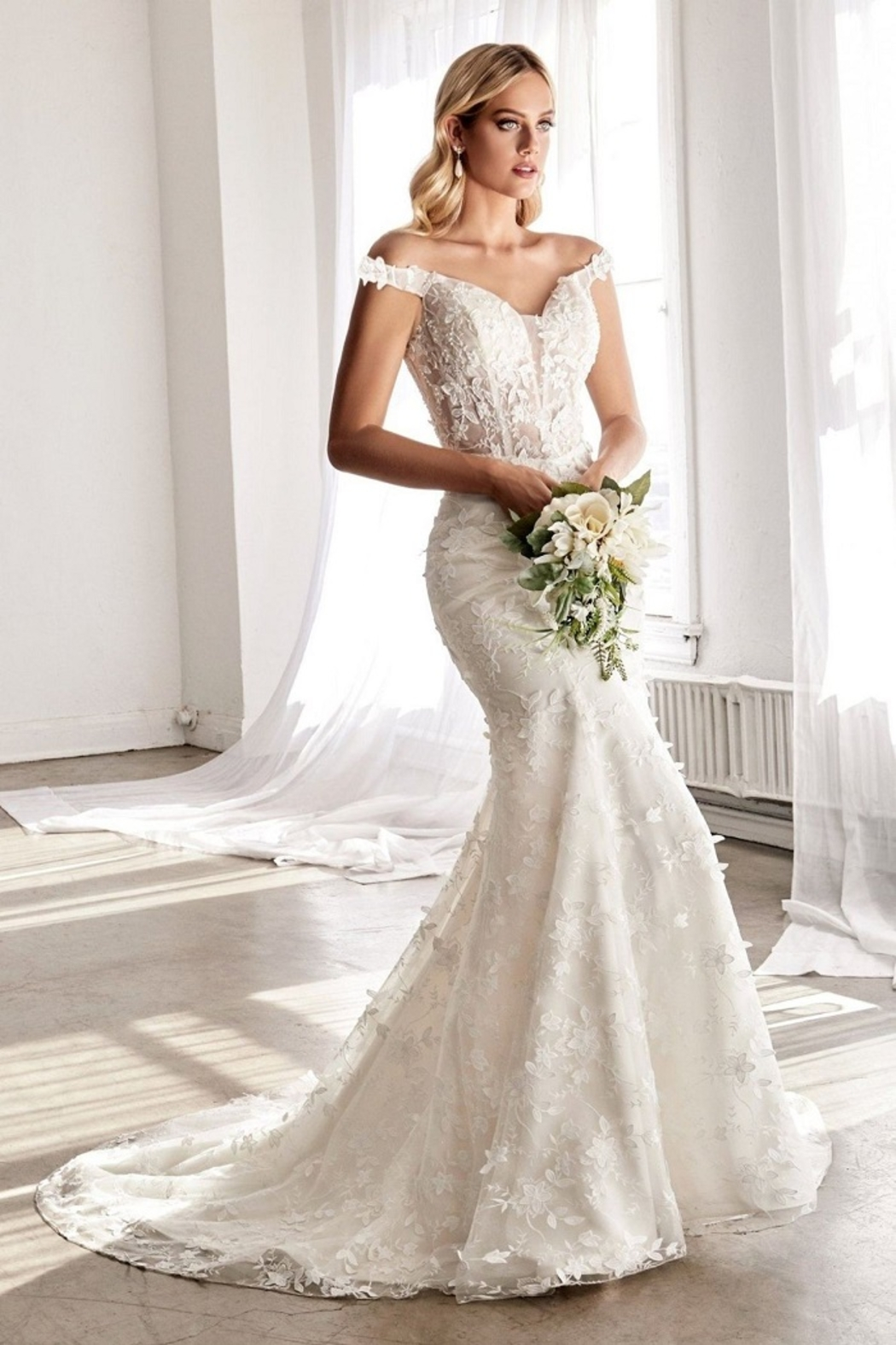 Cinderella Divine Off White Fit & Flare Floral Bridal Gown - Main Image