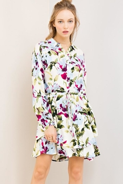 Compendium Off-White Floral Shirtdress - Product List Image