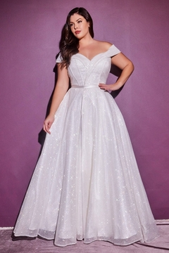 Shoptiques Product: Off White Glitter Bridal Ball Gown