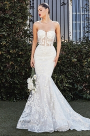 Cinderella Divine Off White Glitter Mermaid Bridal Gown - Front cropped