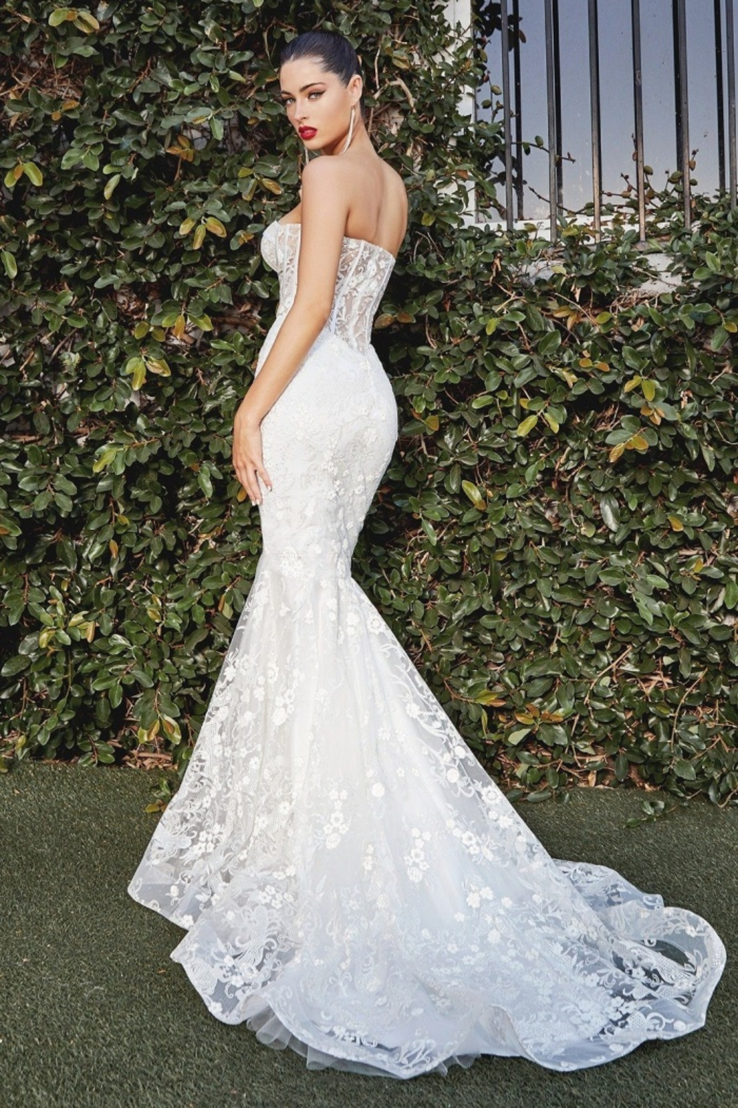 Cinderella Divine Off White Glitter Mermaid Bridal Gown - Front Full Image
