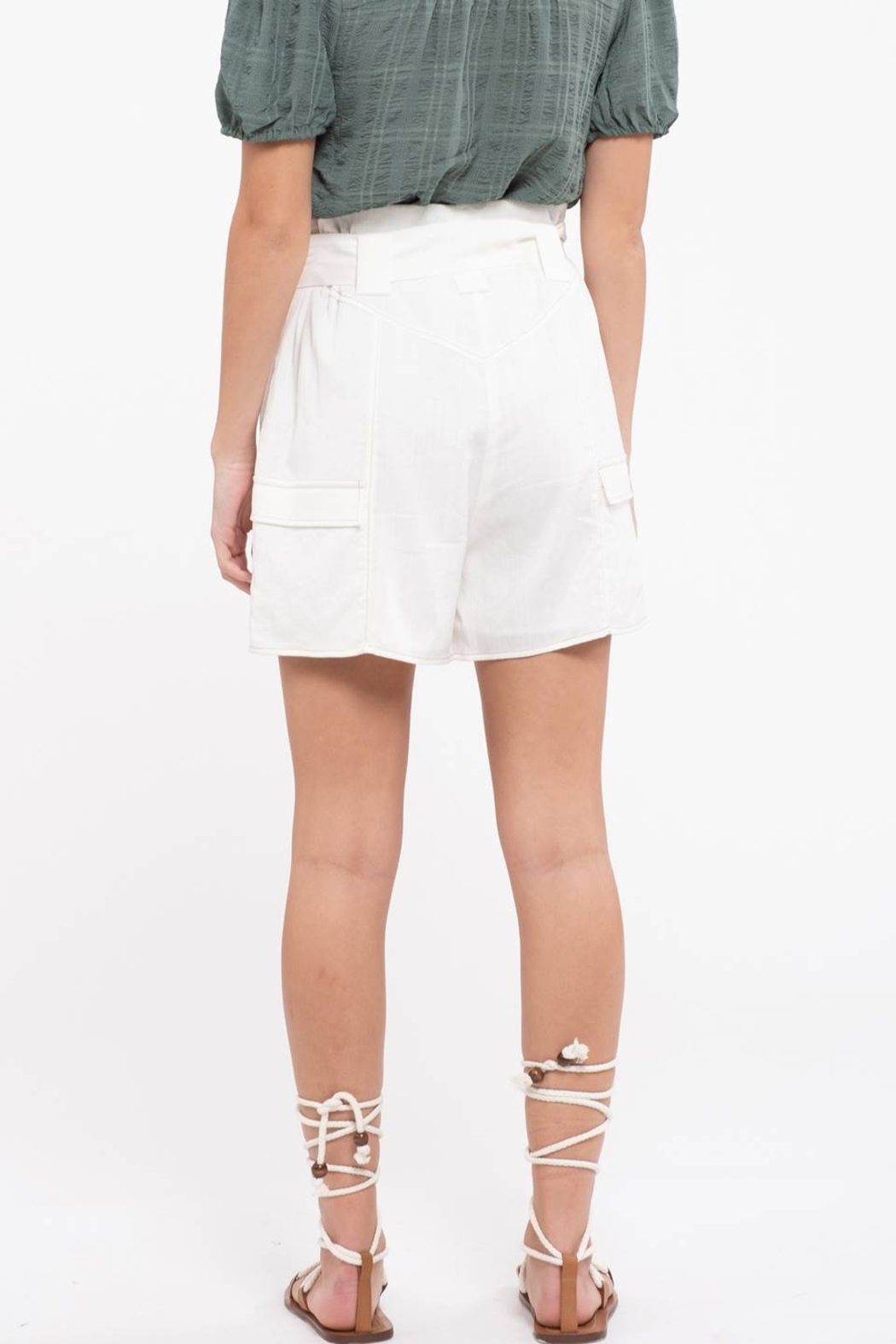 Moon River Off White High Waist Shorts - Front Full Image