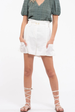 Moon River Off White High Waist Shorts - Product List Image