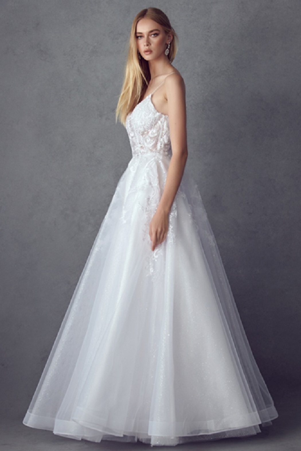Juliet Off White Lace Bridal Ball Gown - Side Cropped Image