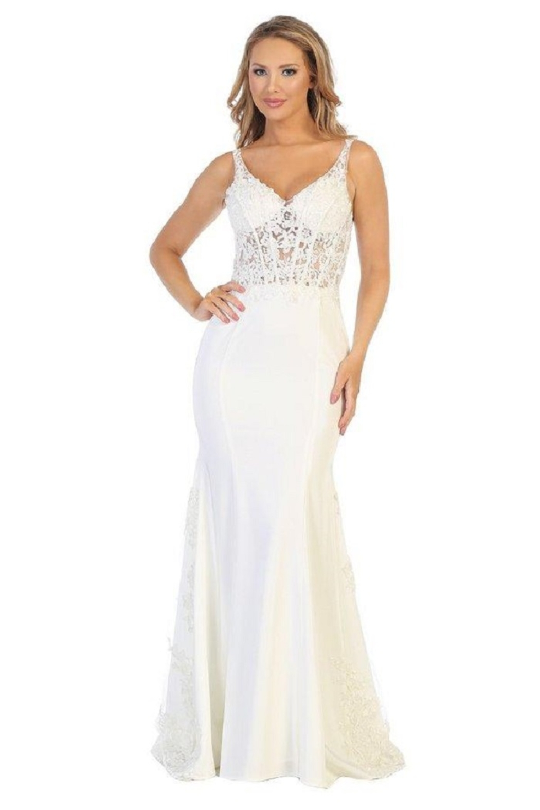 Let's Off White Lace Fit & Flare Bridal Gown - Main Image