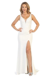 Let's Off White Lace Fit & Flare Bridal Gown - Front cropped