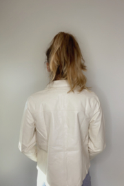 Le Lis Off-White Leather Jacket - Front full body