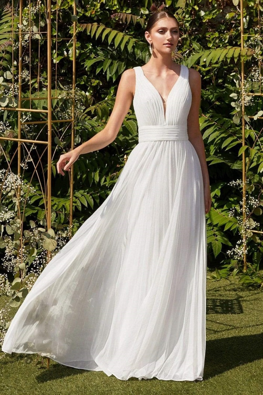 Cinderella Divine Off White Metallic A-Line Bridal Gown - Main Image