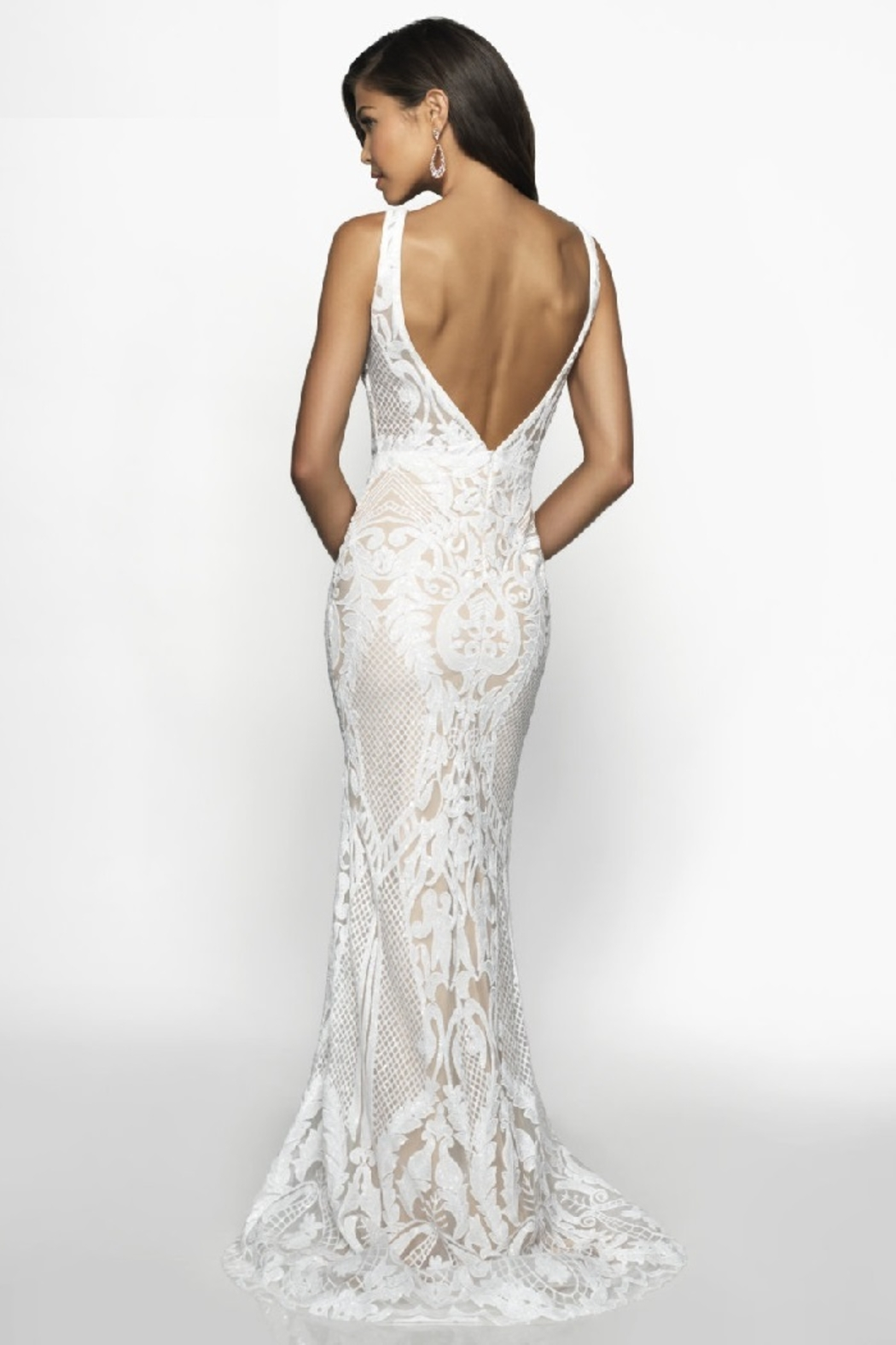 Flair New York Off White & Nude Sequin Fit & Flare Bridal Gown - Front Full Image
