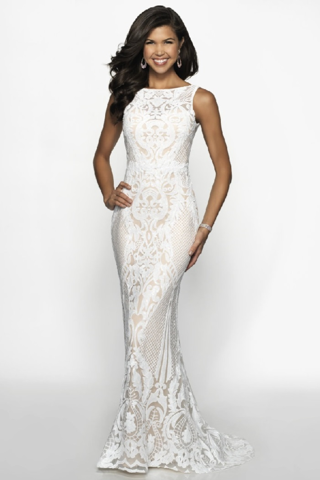 Flair New York Off White & Nude Sequin Fit & Flare Bridal Gown - Main Image
