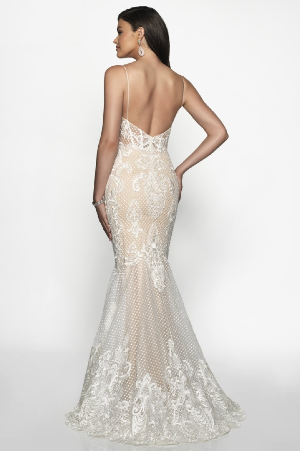 Flair New York Off White & Nude Lace Mermaid Bridal Gown - Front Full Image