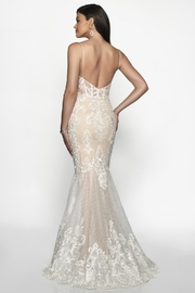 Flair New York Off White & Nude Lace Mermaid Bridal Gown - Front full body