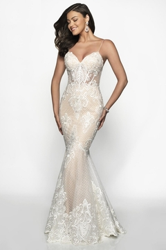 Flair New York Off White & Nude Lace Mermaid Bridal Gown - Product List Image