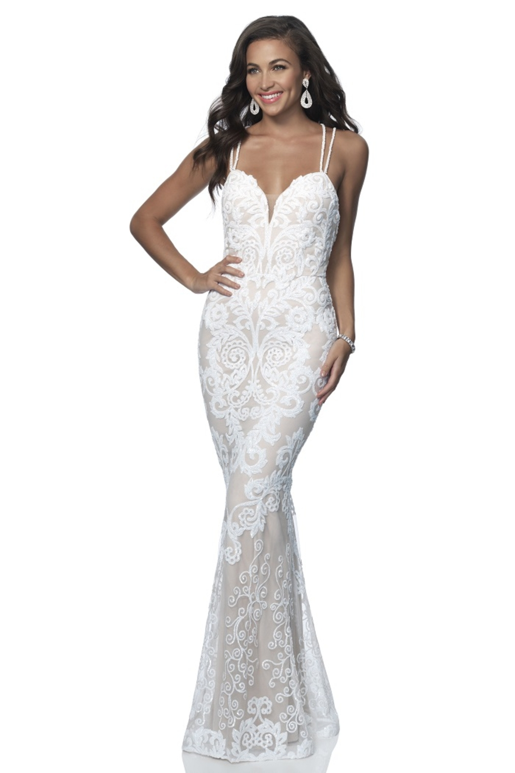 Blush Prom Off White & Nude Sequin Fit & Flare Bridal Gown - Main Image