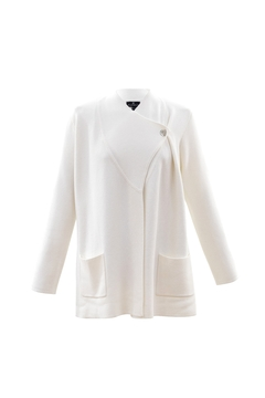 Shoptiques Product: Off White One Button Crossover Cardigan