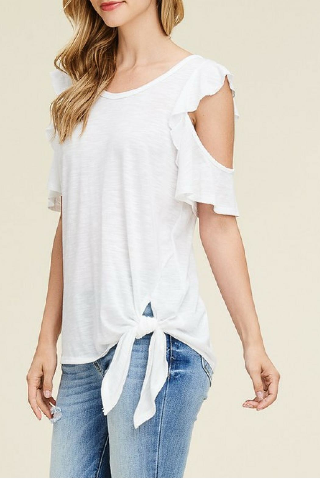 White Birch Off-White Ruffle Top - Front Full Image