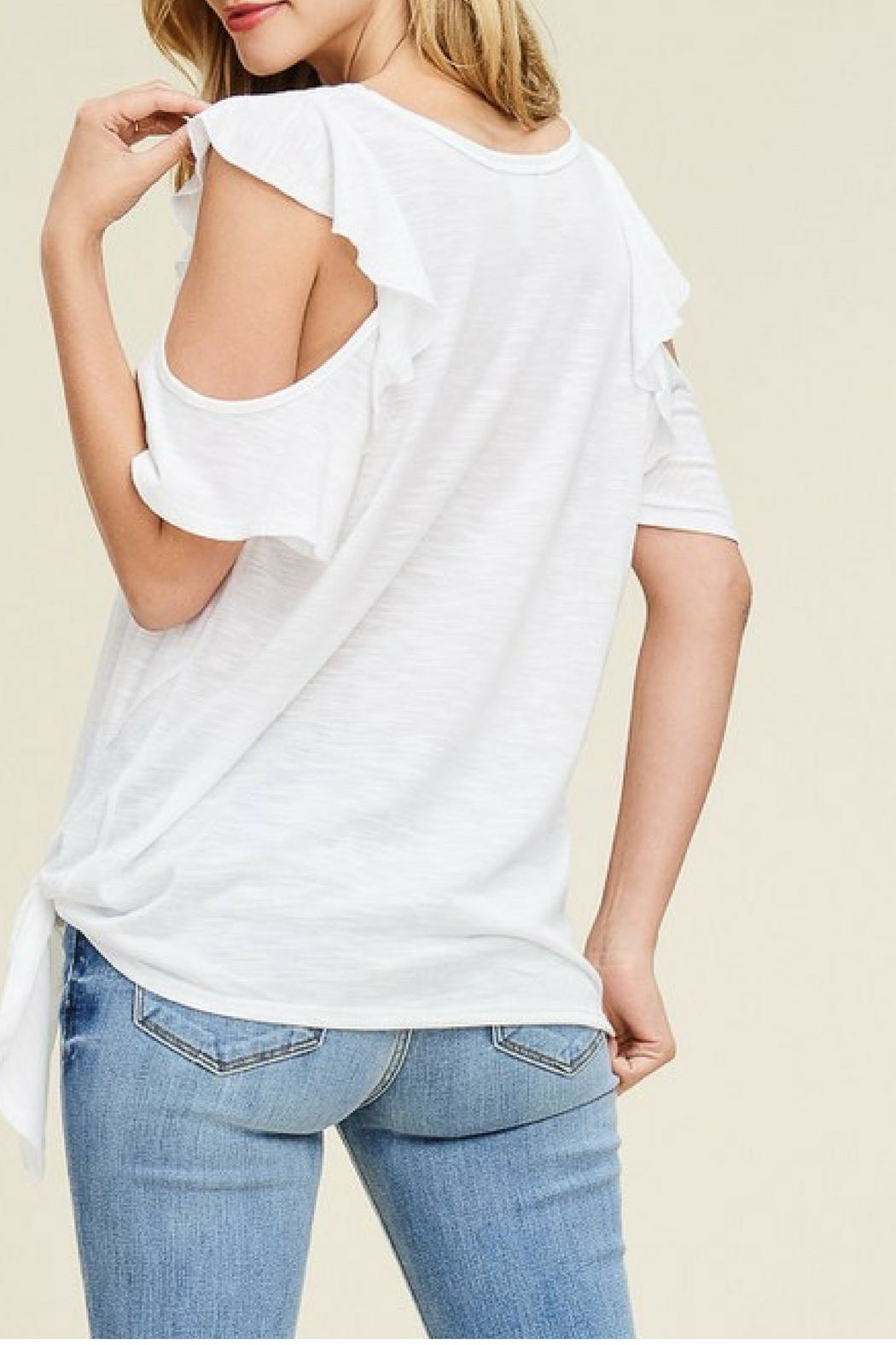 White Birch Off-White Ruffle Top - Side Cropped Image