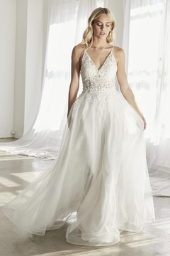 Shoptiques Product: Off White Scroll Lace A-Line Bridal Gown