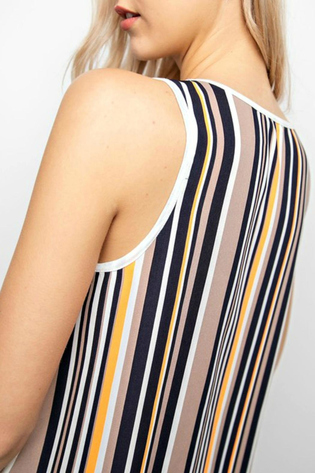 12pm by Mon Ami Off-White&Stripe Tunic Tank-Top - Front Full Image