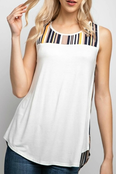 12pm by Mon Ami Off-White&Stripe Tunic Tank-Top - Product List Image