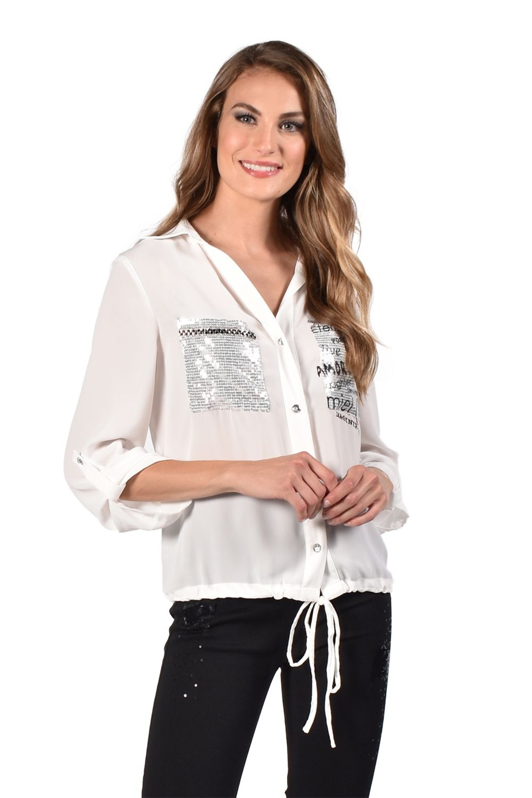 Frank Lyman Off White Woven Top 216126 - Front Cropped Image