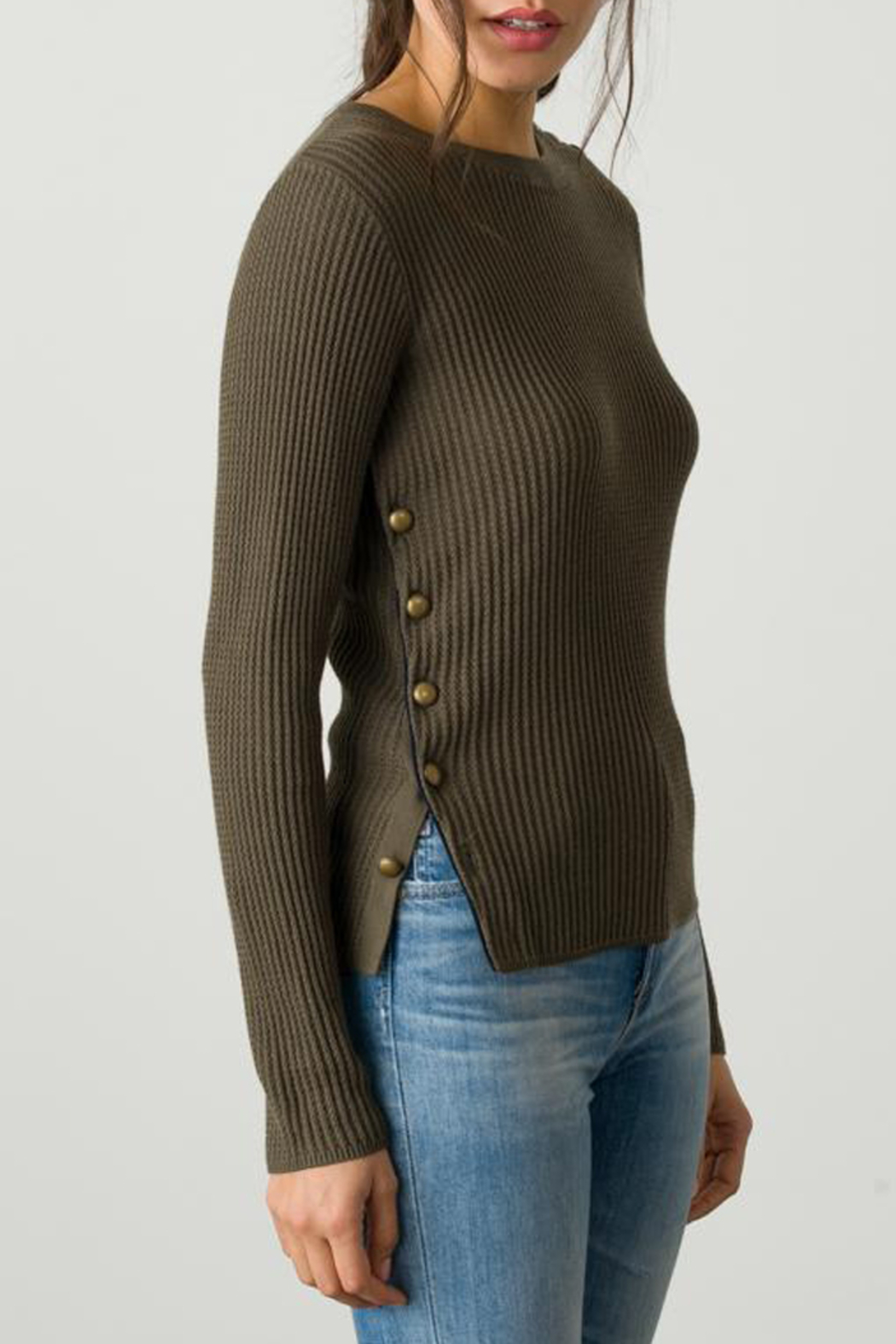 Margaret O'Leary OFFICER BUTTON PULLOVER - Back Cropped Image
