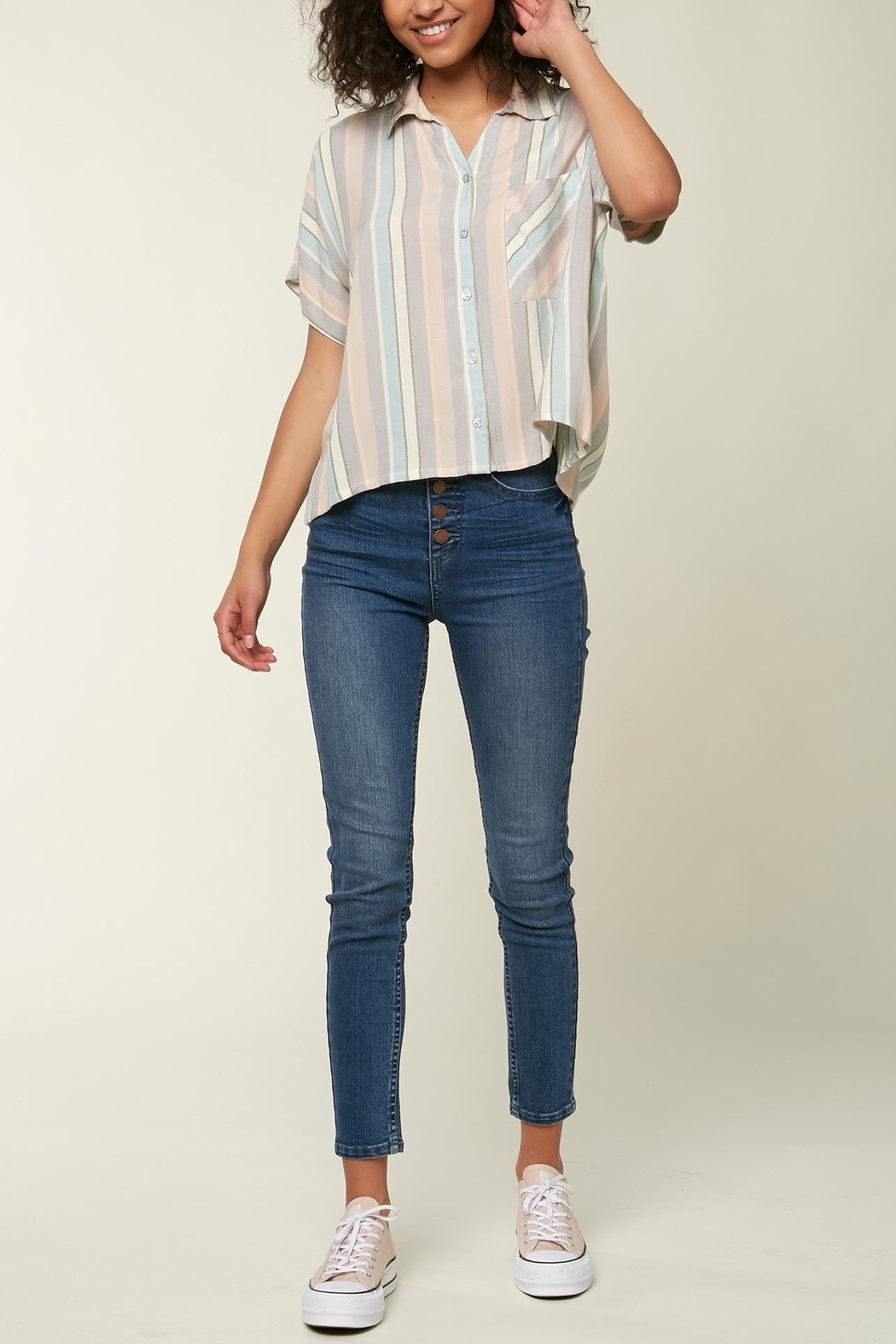 O'Neill Ogier Stripe Button Down - Front Cropped Image